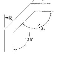 2 x 45° Bogen