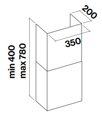 FALMEC Schacht Wand aus Edelstahl - extra breit
