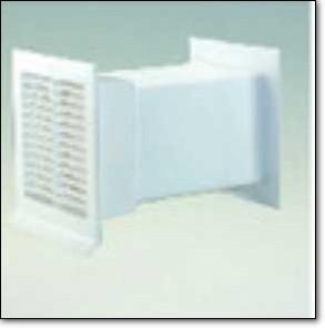Aero Flachkanal 150 Abluft-Zuluft Mauerkasten Rechteckanschluss grau