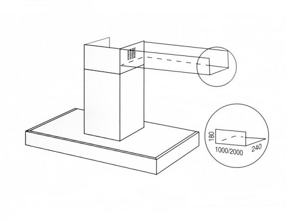 best querschacht f r inselhauben 2000 mm. Black Bedroom Furniture Sets. Home Design Ideas