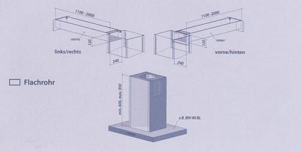 Seitlicher Ausgang im Komplettpaket für Flachrohr 1100 - 2000 mm links - rechts