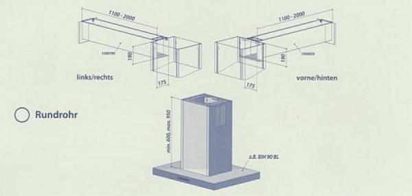 Seitlicher Ausgang im Komplettpaket für Rundrohr bis 1000 mm vorne - hinten