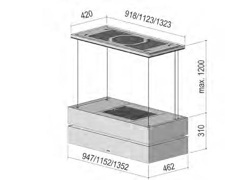 BERBEL Deckenanschluss mit Glasverkleidung + Effektbeleuchtung 95 WS