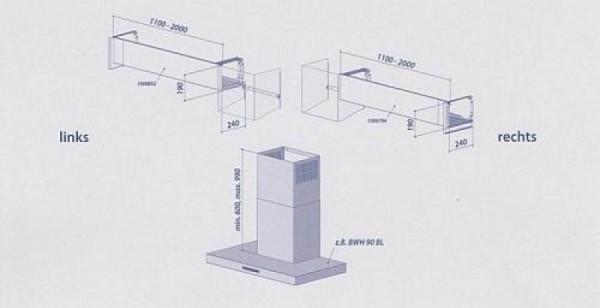 Seitlicher Ausgang links im Komplettpaket 1100 - 2000 mm