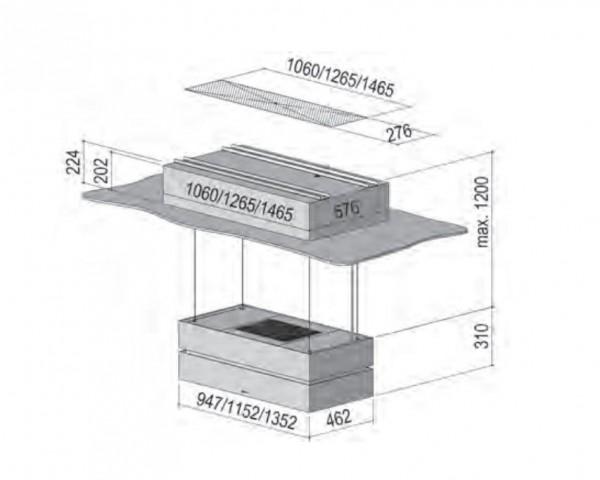 BERBEL Deckenanschluss mit Teilversenkbarkeit 115 WS