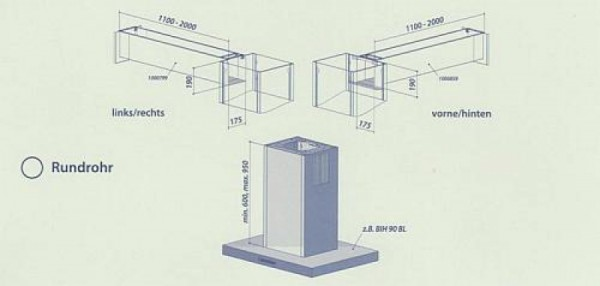 Seitlicher Ausgang im Komplettpaket für Rundrohr bis 500 mm vorne - hinten